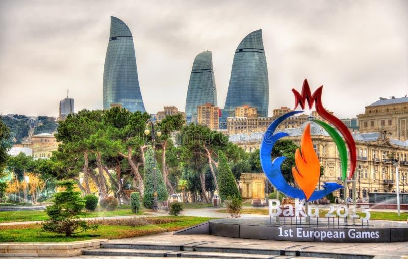 Emblème des jeux européens de 'Bakou 2015' à Bakou photos stock