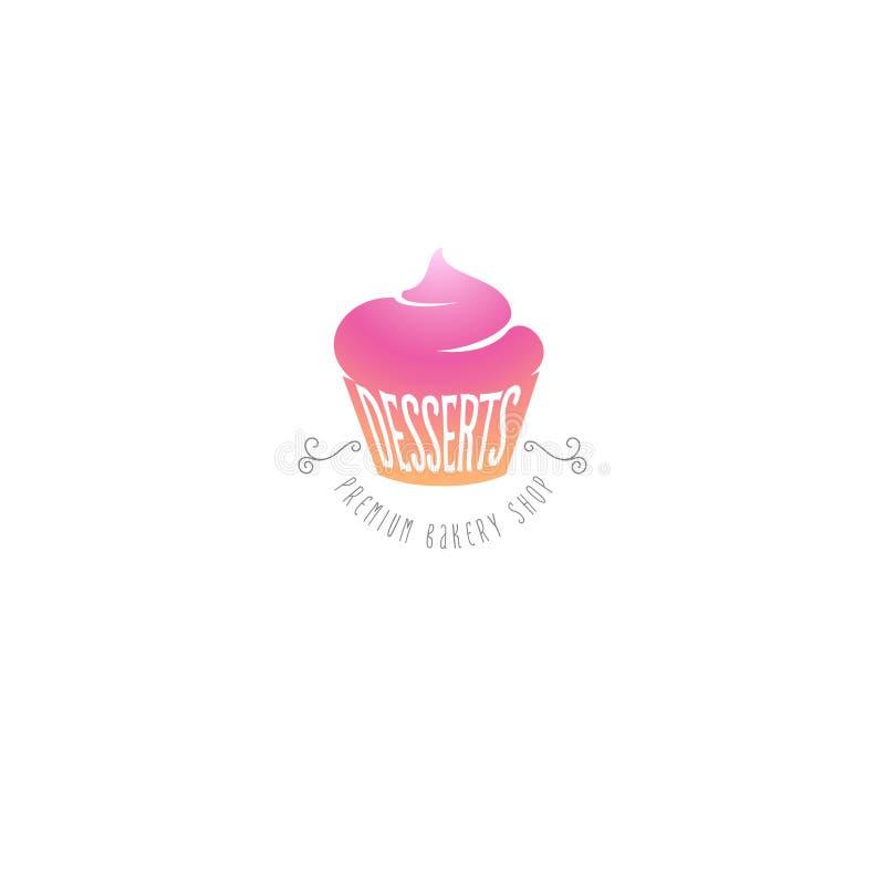 Emblème doux de boutique de petits gâteaux et de desserts Logo de bonbons illustration de vecteur