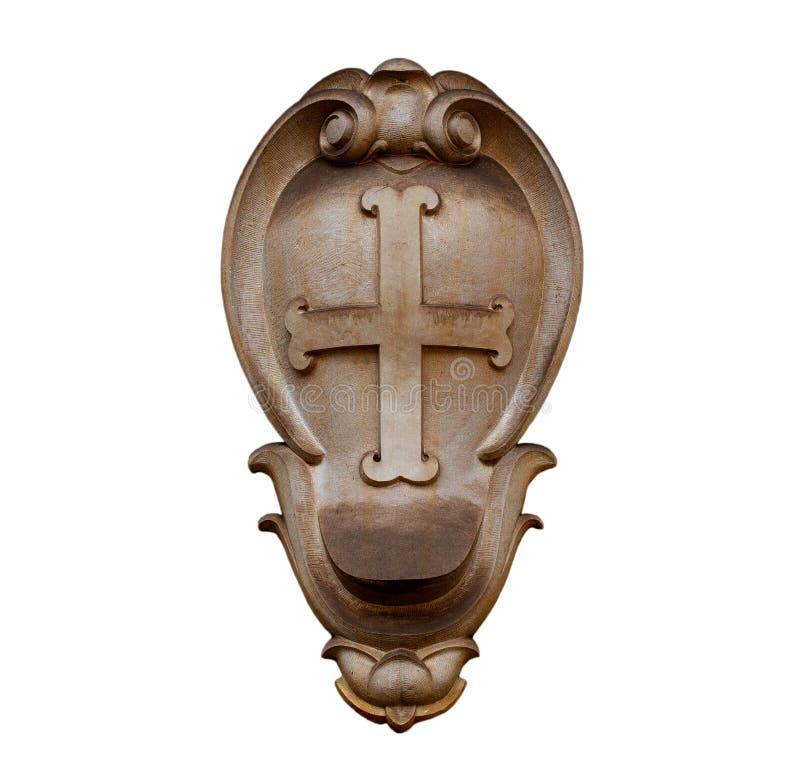 Emblème en pierre de la ville mauvais Pyrmont sur le fond blanc photo stock