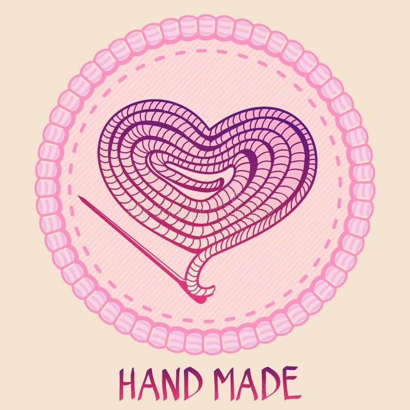 Emblème fabriqué à la main de vecteur - fil et aiguille illustration stock