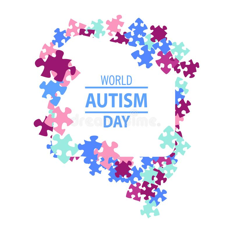 Emblème fait à partir des morceaux de puzzle et des couleurs d'autisme illustration stock