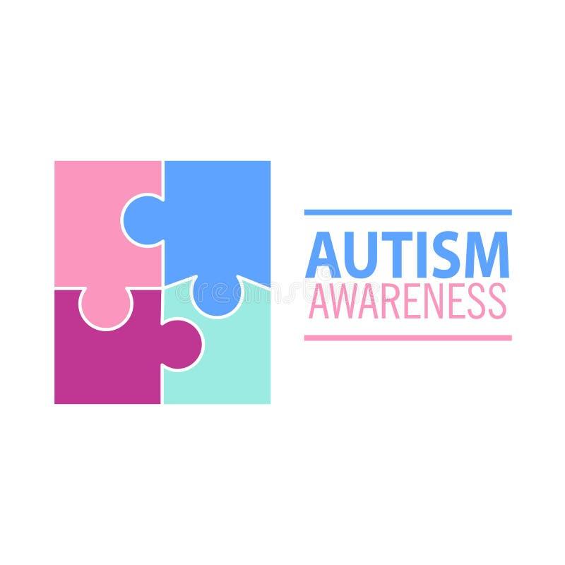 Emblème fait à partir des morceaux de puzzle et des couleurs d'autisme illustration de vecteur