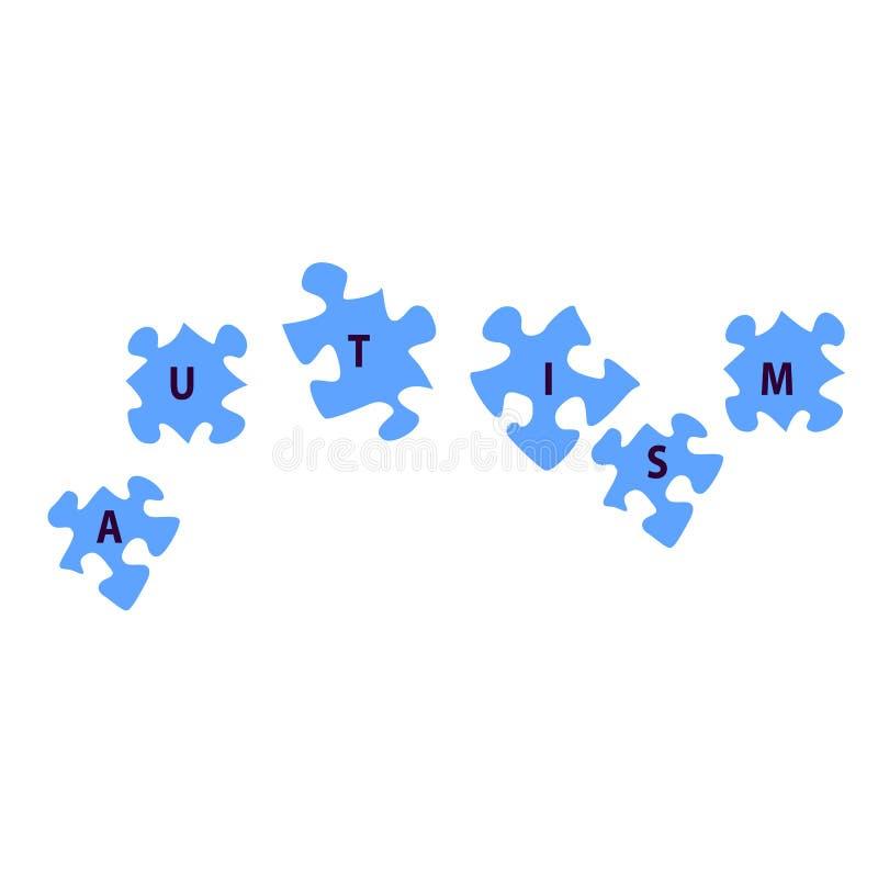 Emblème fait à partir des morceaux de puzzle et des couleurs d'autisme illustration libre de droits