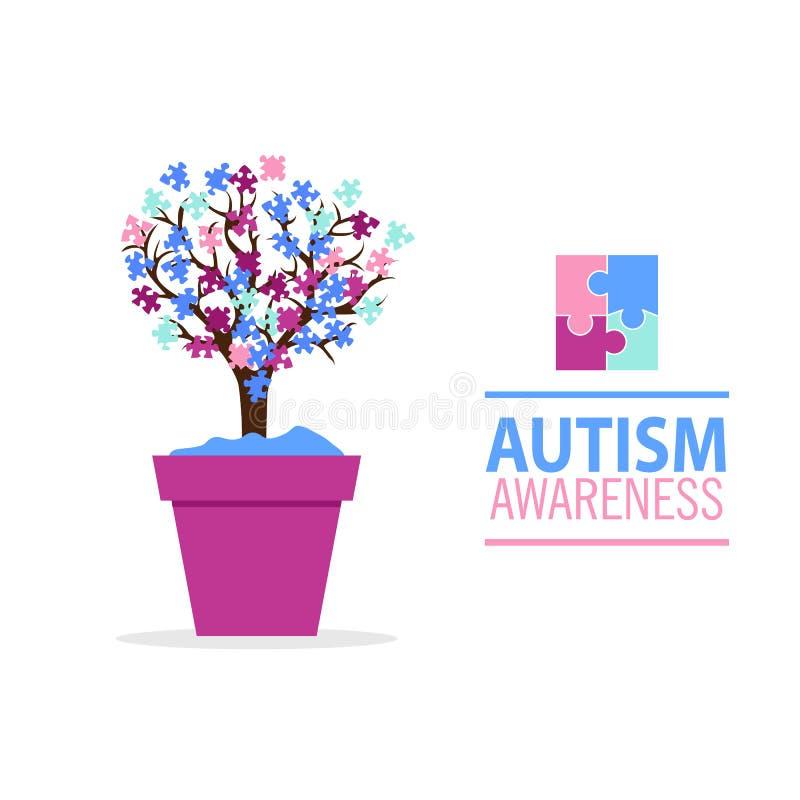 Emblème fait à partir des morceaux de puzzle et de l'arbre d'autisme illustration de vecteur