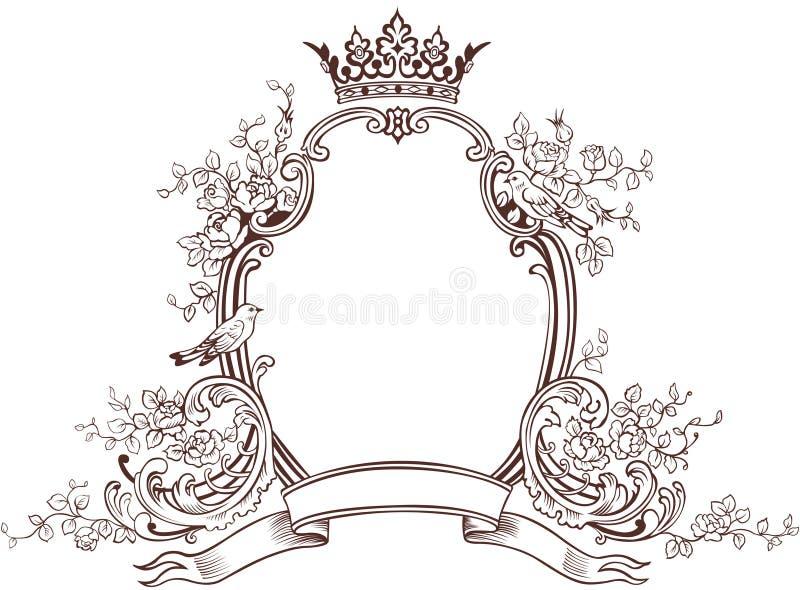 Emblème floral d'imagination illustration stock