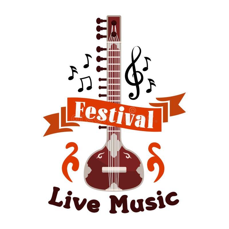Emblème folklorique vivant de vecteur de festival de musique ethnique illustration libre de droits