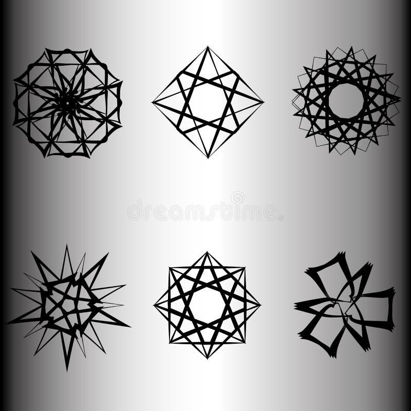 Emblème géométrique d'astrologie de pentagone étoilé d'étoile d'icône de modèle illustration stock