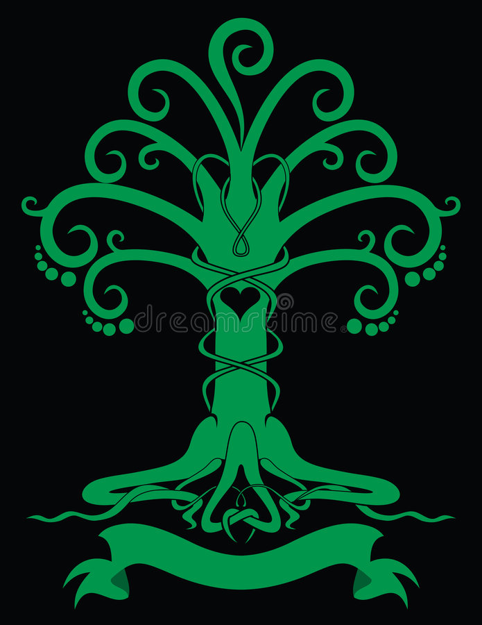 Emblème gothique d'arbre illustration stock
