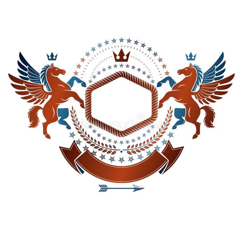 Emblème graphique de vintage composé avec l'anim antique à ailes de Pegasus illustration stock