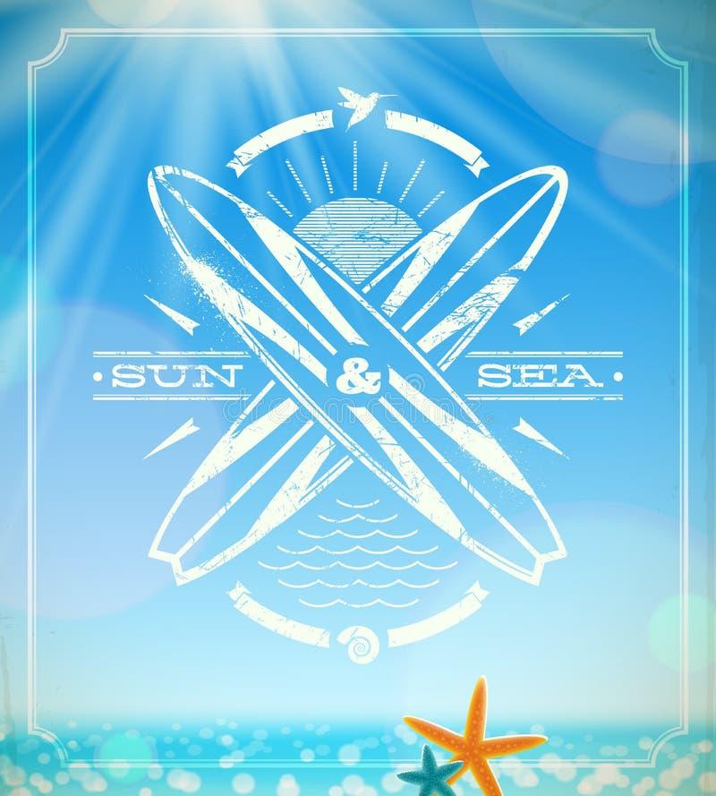 Emblème grunge surfant de cru illustration stock