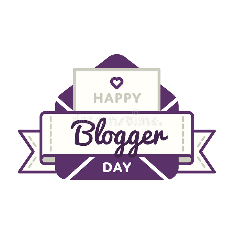 Emblème heureux de salutation de jour de Blogger illustration de vecteur
