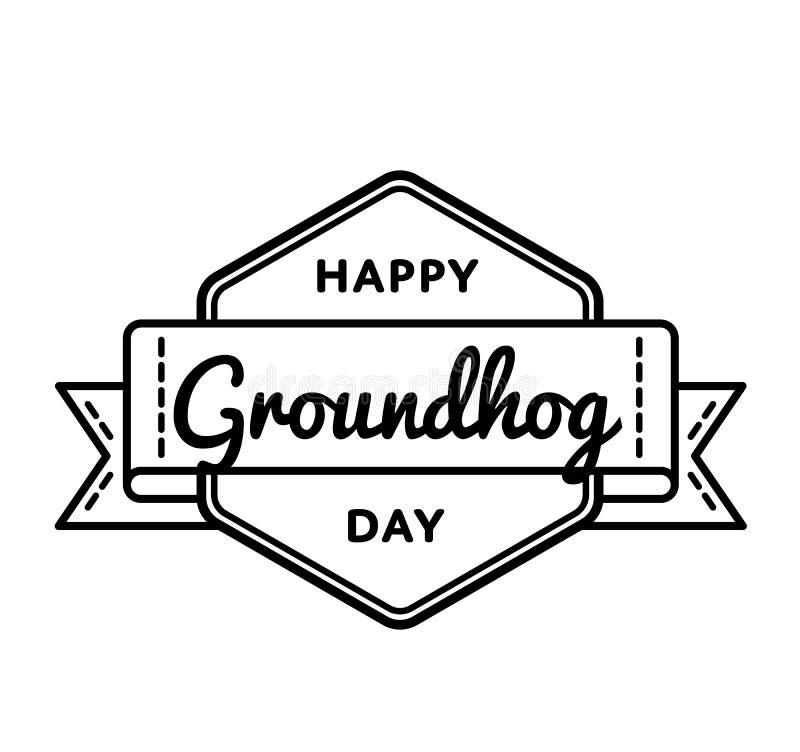 Emblème heureux de salutation de jour de Groundhog illustration de vecteur