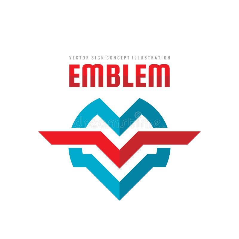 Emblème - illustration de concept de calibre de logo de vecteur Signe géométrique abstrait Symboles de la lettre M et du V S'envo illustration stock