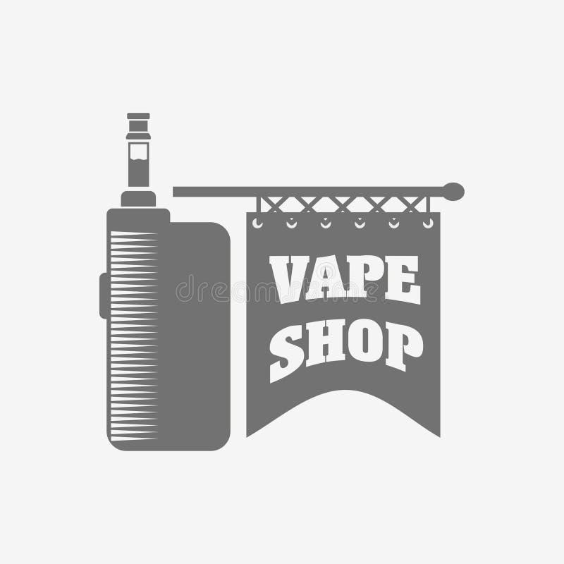 Emblème, label ou logo d'e-cigarette de boutique de Vape Illustration de vintage de vecteur illustration libre de droits
