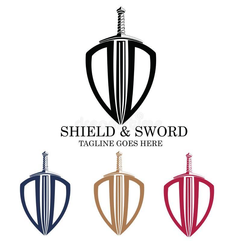 Emblème Logo Design de vecteur d'épée et de bouclier photo stock