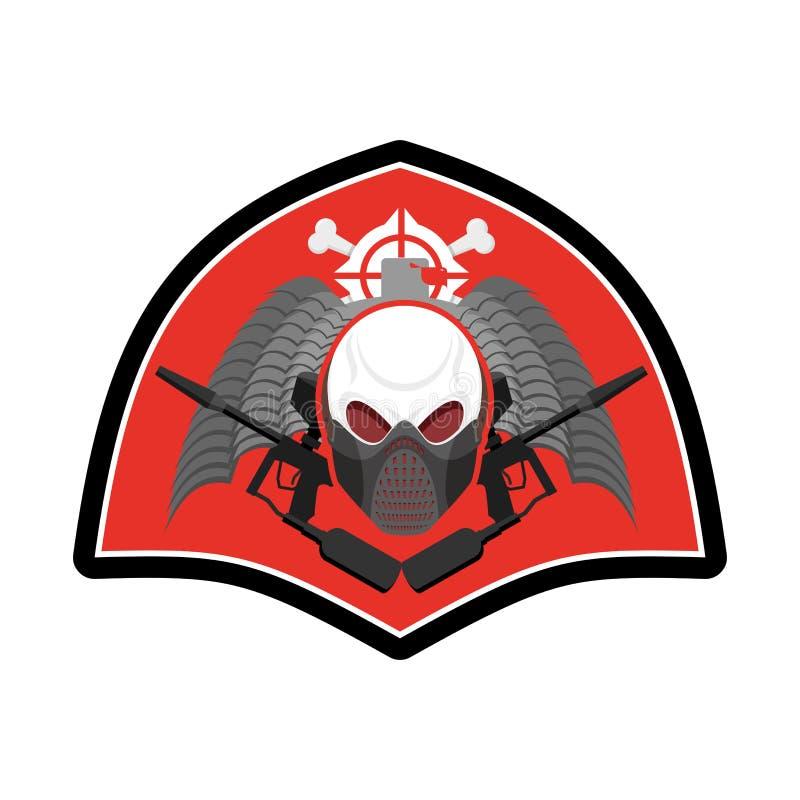 Emblème militaire Logo de Paintball Signe d'armée Crâne dans protecteur illustration de vecteur