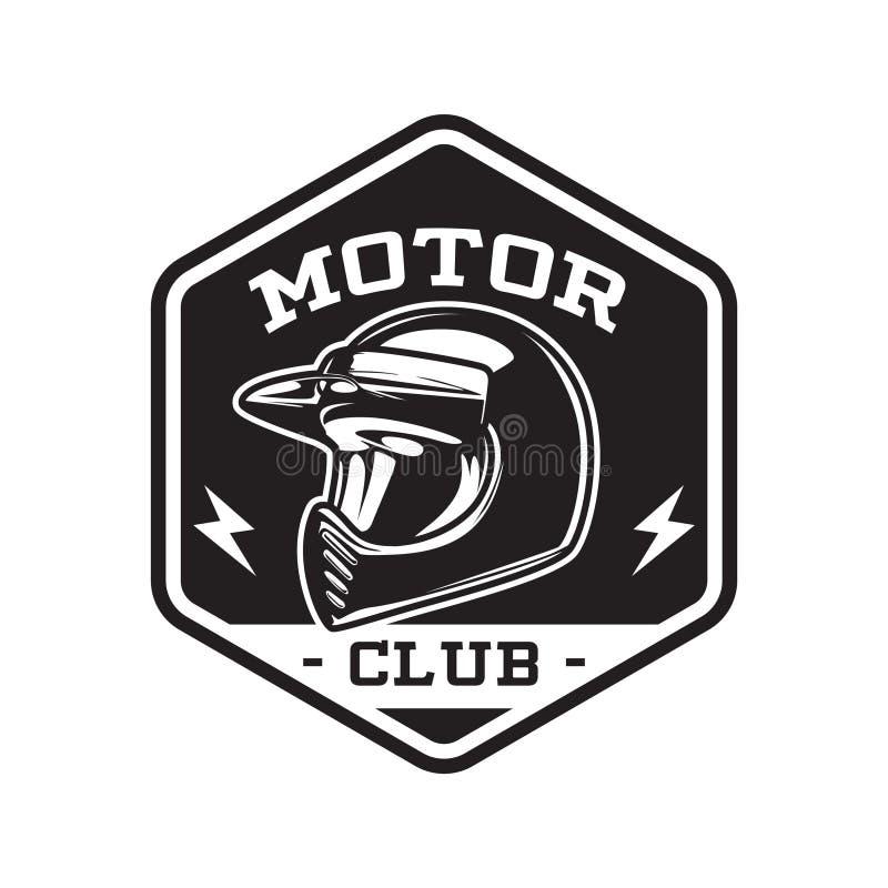 EMBLÈME MONOCHROME DE CLUB DE MOTEUR illustration de vecteur
