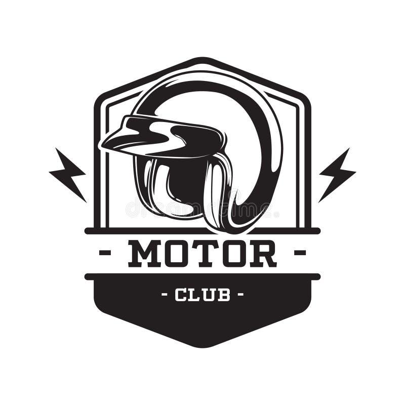 EMBLÈME MONOCHROME DE CLUB DE MOTEUR illustration stock