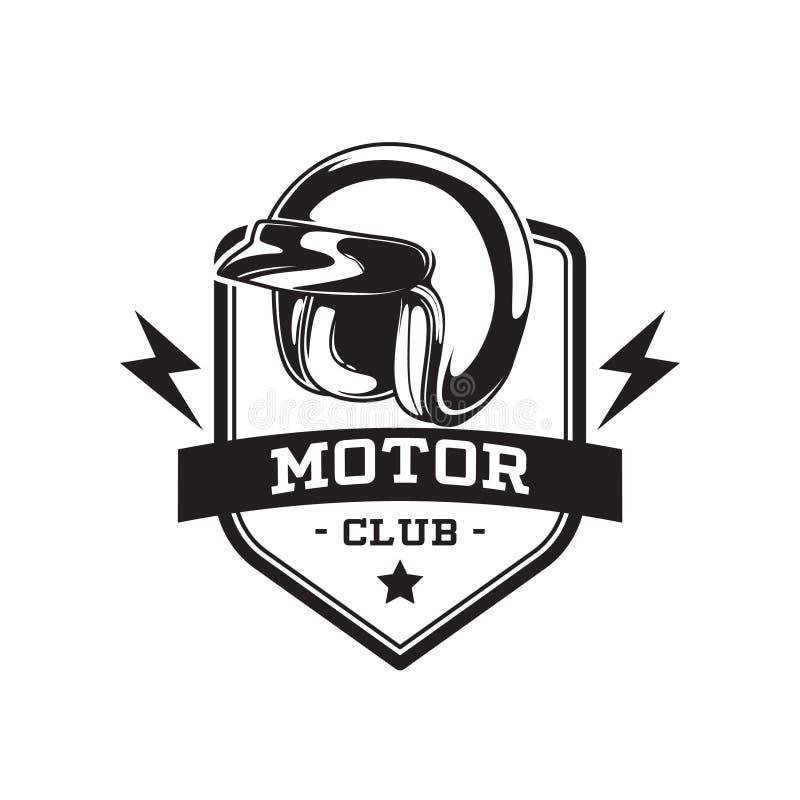 EMBLÈME MONOCHROME DE CLUB DE MOTEUR illustration libre de droits