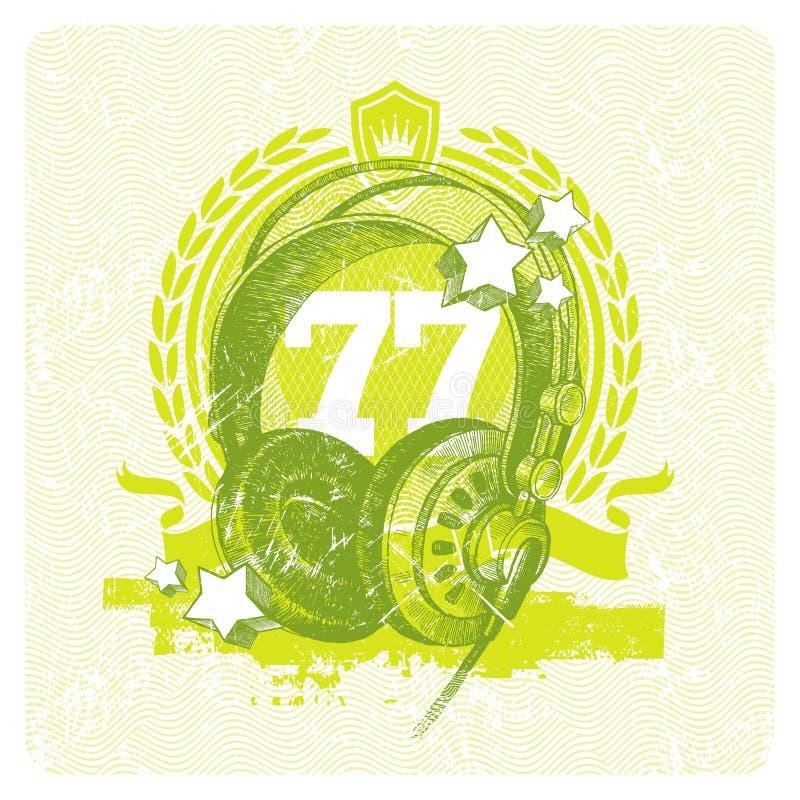 Emblème musical avec des écouteurs de studio illustration de vecteur