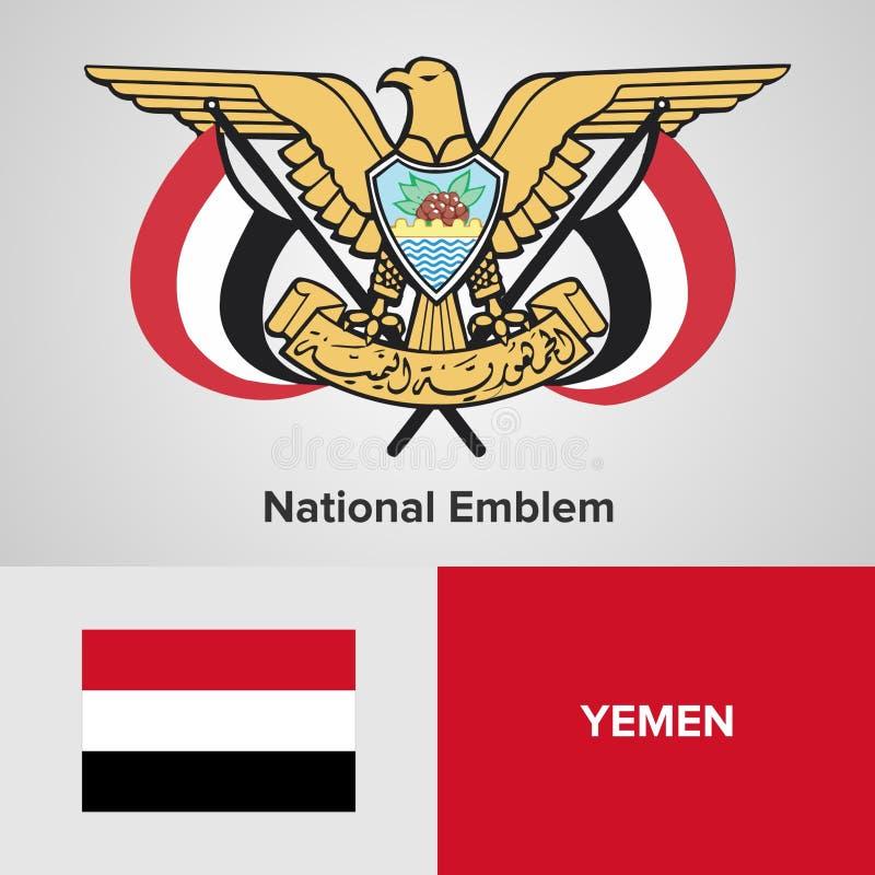 Emblème national et drapeau du Yémen photo libre de droits