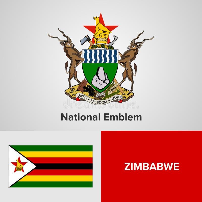 Emblème national et drapeau du Zimbabwe image stock