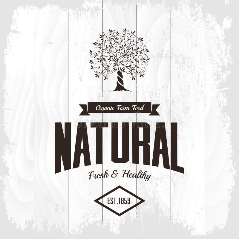 Emblème naturel et sain organique de nourriture fraîche de ferme rétro illustration stock