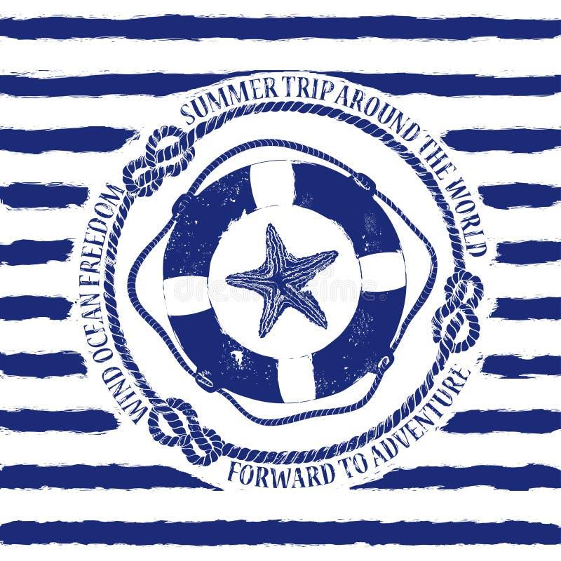 Emblème nautique avec la bouée de sauvetage et les étoiles de mer illustration de vecteur