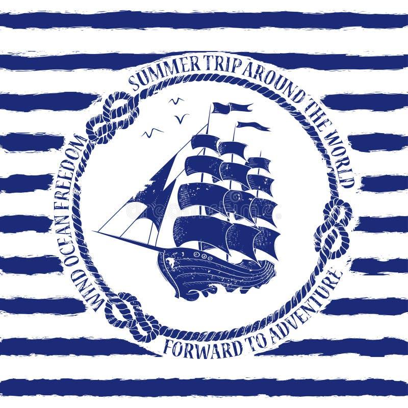 Emblème nautique avec le bateau de navigation illustration libre de droits
