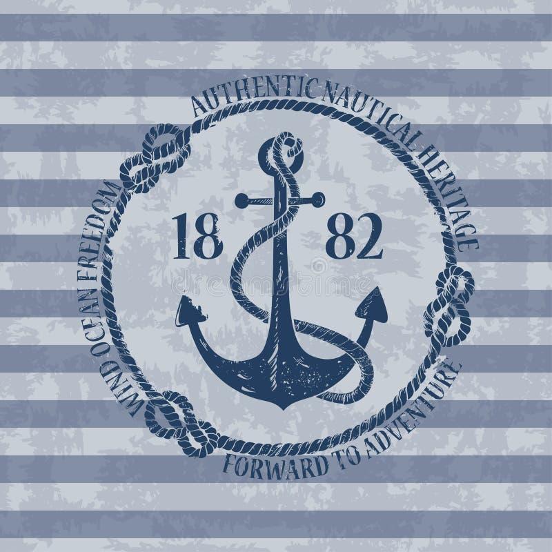 Emblème nautique avec le point d'attache illustration de vecteur