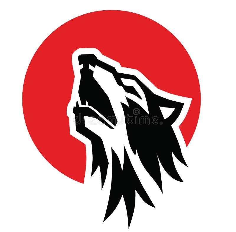 Emblème noir d'hurlement de loup illustration de vecteur