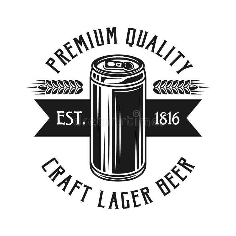 Emblème noir de vecteur de brassage avec la canette de bière d'isolement illustration libre de droits