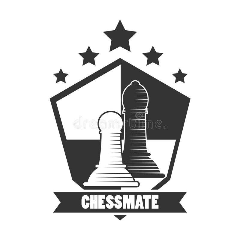 Emblème noir et blanc de club de Chessmate avec des illustrations de gages illustration stock