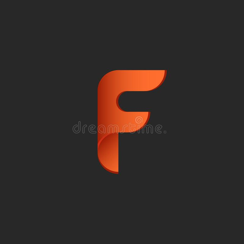 Emblème orange ardent de technologie de gradient d'élément de conception de papier de symbole de feu de logo de la lettre F ou de illustration libre de droits