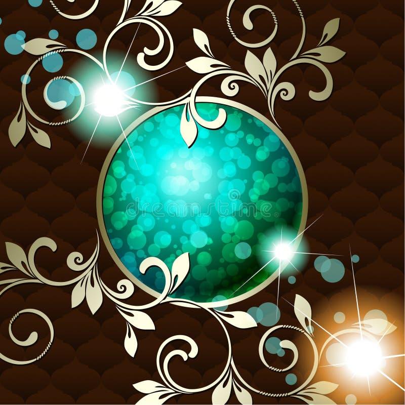 Emblème rococo de cru élégant dans vert-foncé illustration stock