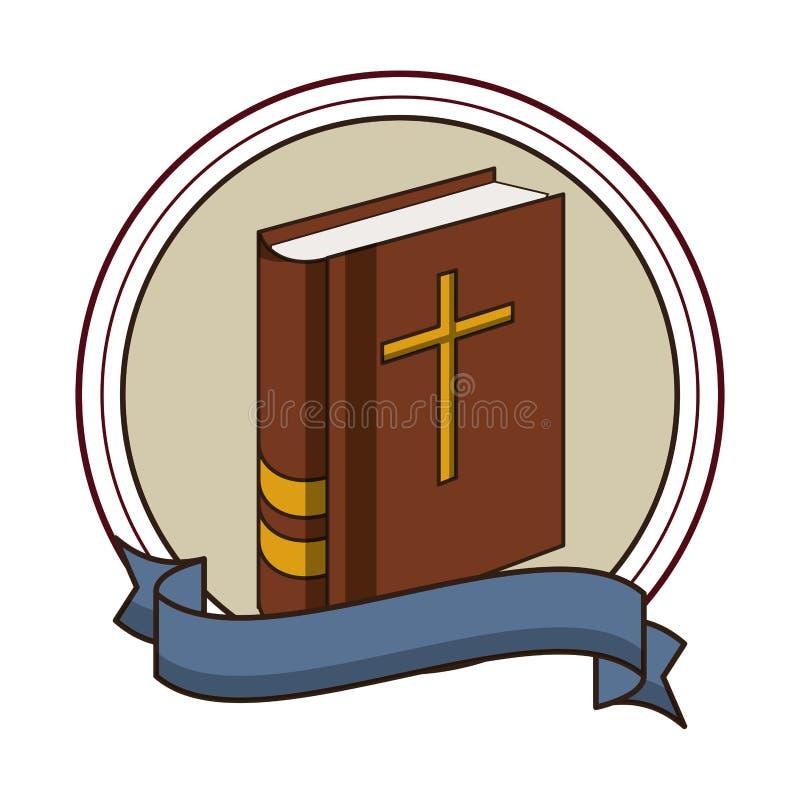 Embl?me rond de livre de Sainte Bible illustration de vecteur