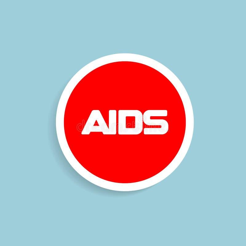 Emblème rond rouge de vecteur de conception de SIDA d'arrêt Conscience d'HIV, soin et logo de société de charité d'aide Signe de  illustration libre de droits