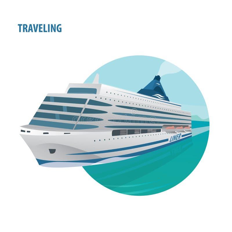 Emblème rond sur le fond blanc avec le bateau de croisière illustration libre de droits