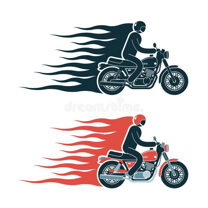 Emblème simple de pictogramme de cycliste illustration de vecteur