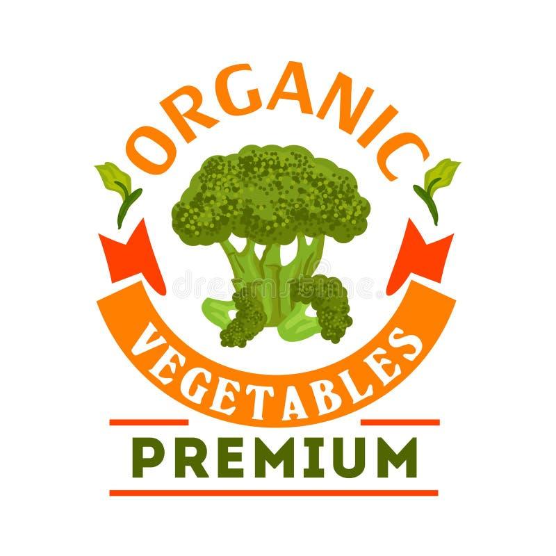Emblème végétal sain organique de brocoli illustration de vecteur