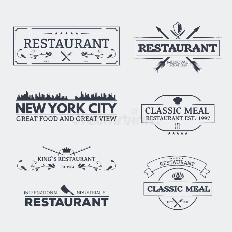 Emblèmes classiques de restaurant illustration stock