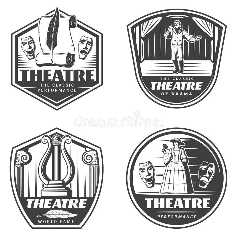 Emblèmes classiques de théâtre de vintage réglés illustration libre de droits
