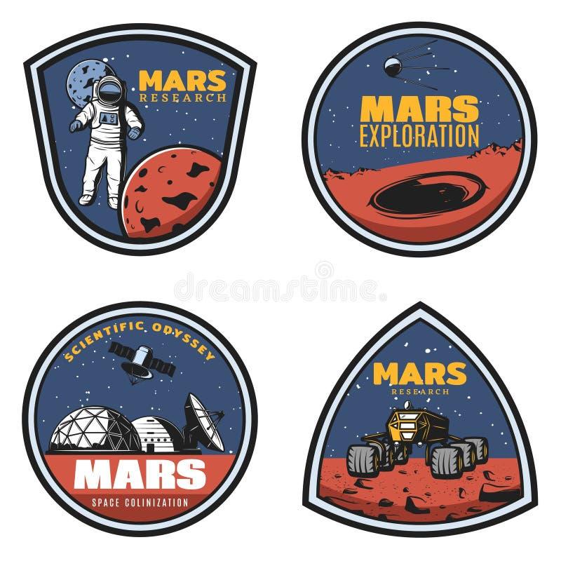 Emblèmes colorés de recherches de Mars de vintage réglés illustration stock