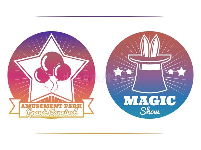 Emblèmes colorés de spectacle de magie et de parc d'attractions illustration de vecteur