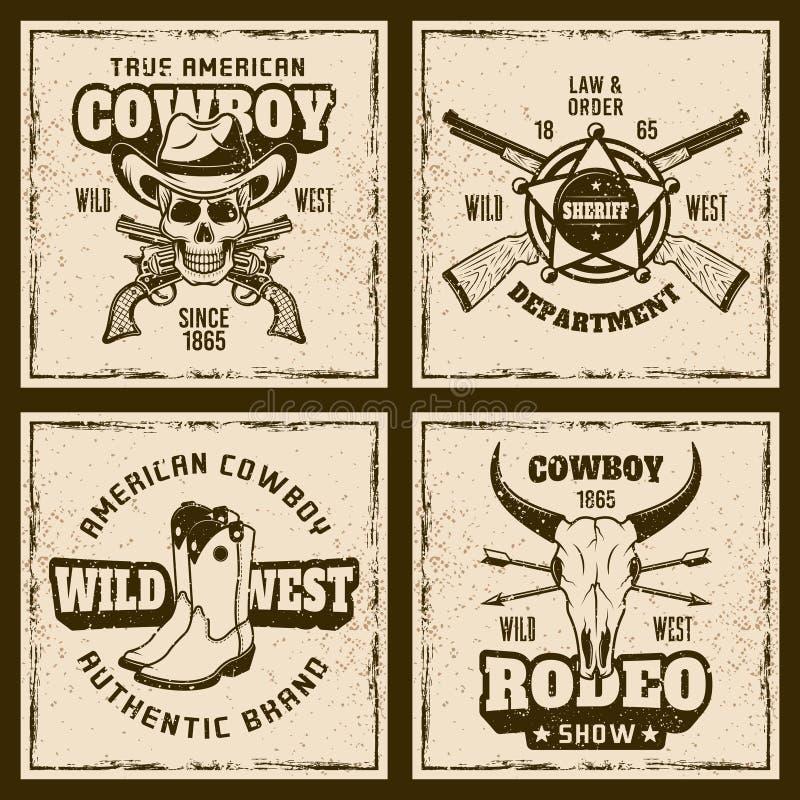 Emblèmes colorés de vintage de cowboy et de rodéo quatre illustration de vecteur
