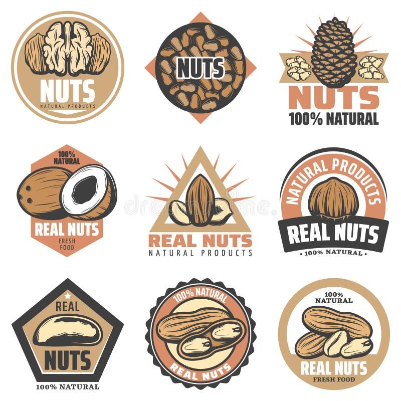 Emblèmes d'aliment biologique colorés par vintage réglés illustration libre de droits