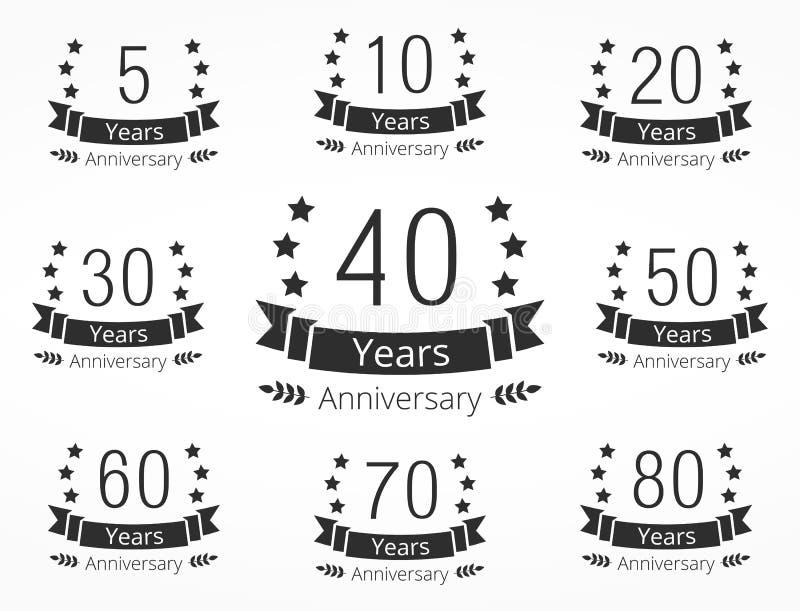 Emblèmes d'anniversaire illustration libre de droits