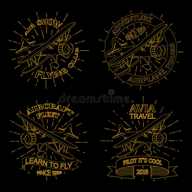 Emblèmes d'avion de vintage illustration libre de droits