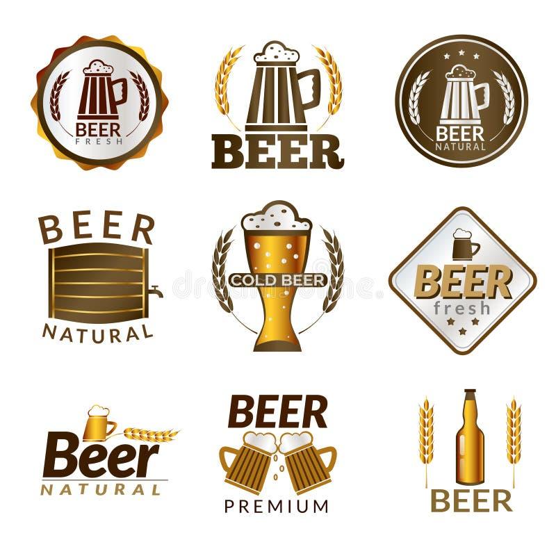 Emblèmes d'or de bière illustration stock