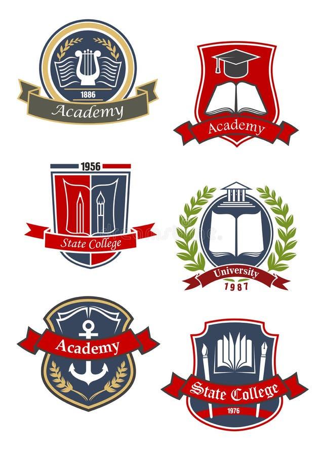 Emblèmes d'université, d'université et d'académie illustration de vecteur